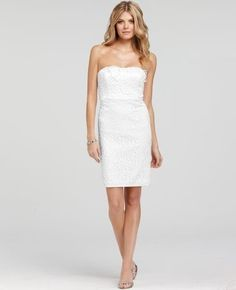 Ann Taylor White Floral Embroidered Sheath Cocktail Dress