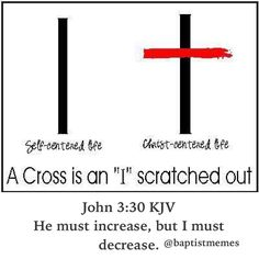 In the words of John the Baptist whom we trace our Baptist lineage to (not by blood nor unbroken succession but by spirit and doctrine and name): John 3:30 He must increase but I must decrease. -@gmx0 #BaptistMemes