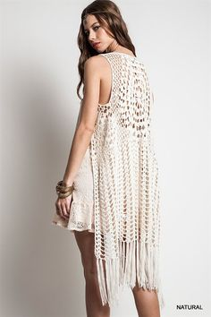 sleeveless long Crochet Fringed Vest
