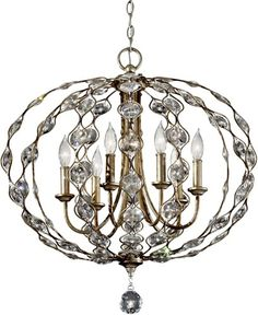 Feiss | Leila 6-Light Chandelier2 Burnished Silver F2740/6BUS27x27 859.00
