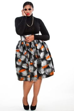 JIBRI Plus Size High Waist Flare Skirt (Orange Detailed Felted Wool) *swoon!*