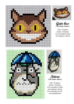 Gatobus - Totoro - Ghibli - Miyazaki - hama beads - pattern - could also use for cross stitch Perler Bead Designs, Hama Beads Design, Hama Beads Patterns, Loom Patterns, Beading Patterns, Embroidery Patterns, Perler Beads, Perler Bead Art, Totoro