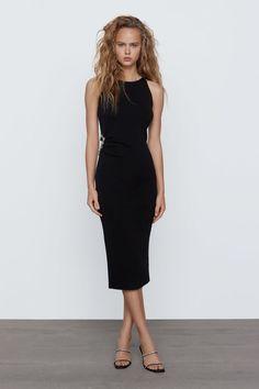 Zara Knit Dress With Jewel Detail Knit Dress, Dress Up, Tight Crop Top, Zara Black Dress, Vestidos Zara, Robes Midi, Rhinestone Dress, Going Out Outfits, Mi Long