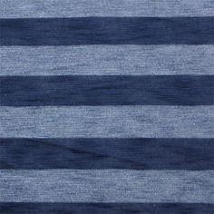 Deep Blue Tonal Stripe Slub Sweater Knit Fabric