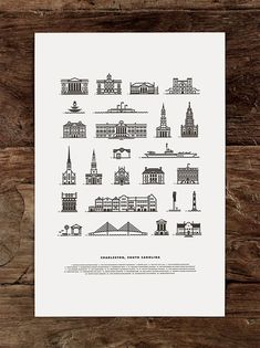 Charleston Landmarks - Letterpress Poster Illustration by J Fletcher Design