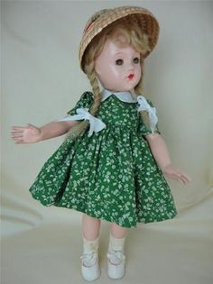 Vintage Effanbee Composition Doll RARE Pigtail Wig Vintage 1940's Compo Replacement Dress