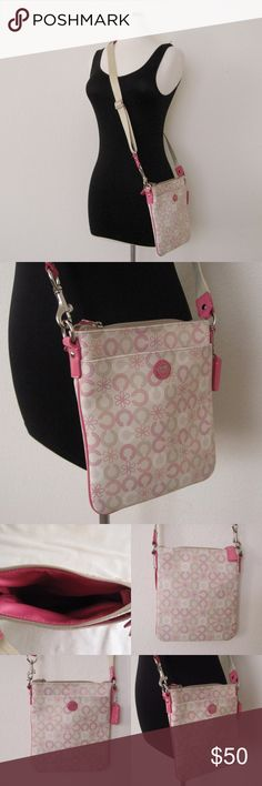 """Coach Pink CrossBody Bag Authentic COACH Cute Pink Crossbody Bag. Pre-owned in very good condition. No visible flaws.  Dimensions: 8.5""""H x 7.5""""W, Strap drop 21"""" ~❌SWAP❌TRADE ~ ✔️❤️Bundles ~✔️Smoke-free/pet-free home Coach Bags Crossbody Bags"""