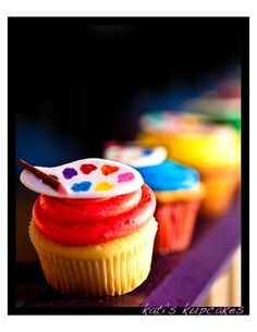 artist palette cupcake toppers