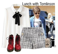 """""""Lunch with Tomlinson"""" by sticthen on Polyvore featuring WithChic, Boutique Moschino, Narciso Rodriguez, Accessorize, Dr. Martens, Casetify, louistomlinson, fanfiction and sohypnotizing"""