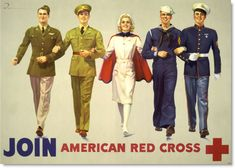 Join American Red Cross - 1942 poster military