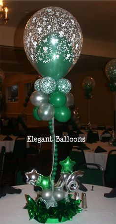 Sea balloon centerpiece iloveballoons pinterest for Balloon decoration ideas for sweet 16