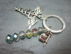 Nurse Keychain Caduceus Large Charm Syringe and Medicine Bottle Charm Medical Worker Doctor Crystal Rondelles You Choose Bead Colors by WhispySnowAngel on Etsy