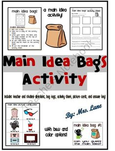 Main Idea Bags Activity (Includes 23 Different Bag Themes!) from Mrs Lane on TeachersNotebook.com (64 pages) - Save your valuable time and print this ready-to-use main idea activity! Students infer the main idea by reviewing sets of themed picture cards in bags.