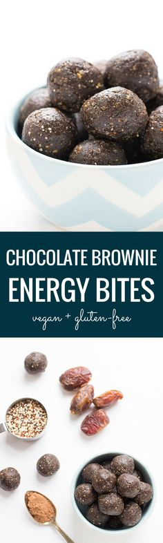 Increase your energy with these CHOCOLATE BROWNIE energy bites! They're quick, easy and totally delicious. Plus they taste like fudge brownies!!