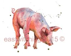 Pig Wall Art - Painting - Pig Painting by Alison Fennell Painting Prints, Watercolor Paintings, Art Prints, Watercolour, Animal Prints, Painting Art, Hippo Drawing, Pig Art, Animal Magic