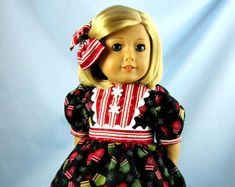 Doll Christmas Dress - Doll Clothes 18 Inch -  Fits American Girl Doll - Mittens and Candy Cane Print - Winter Doll Dress