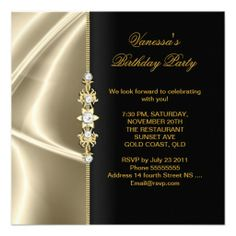 Elegant Birthday Party Gold Black Cream Invitation
