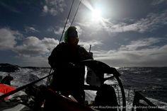 Charles Caudrelier helming Groupama Sailing Team as they push forward towards Cape Horn, during leg 5 of the Volvo Ocean Race 2011-12