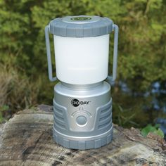 The 30 Day Lantern - Hammacher Schlemmer: This is the lantern that provides up to 30 days of reliable light on one set of batteries. The lantern's three 1.4-watt LEDs use a fraction of the energy of traditional bulbs to produce 720 consecutive hours of light on its lowest setting using only three D batteries (not included). The lantern generates up to 300 lumens of bright, white light that can be seen from up to 75 1/2' away.