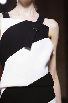 Graphic monochrome dress with asymmetrical strap detail; fashion close up // Victoria Beckham Fall 2015