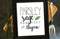 Kitchen Decor, Herb Art Print, Parsley, Sage, Rosemary & Thyme 8 x 10 by JourneyJoyful on Etsy https://www.etsy.com/listing/189613592/kitchen-decor-herb-art-print-parsley