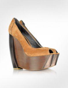 Rachel Zoe Hudson - Chaussures Compensées en Daim Beige | FORZIERI Automne-Hiver 2012