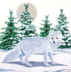 4 x Single Table Paper Napkins / Craft / Party /for Decoupage / SNOW FOX