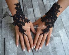 Goth gotische Spitze schwarz Hochzeit Handschuhe von GlovesByJana