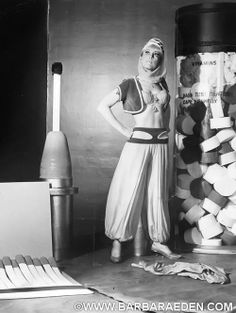 """This fun shot of Barbara was taken during production of the 4 part series of episodes """"Genie, Genie, Who's got the Genie?"""" where Jeannie is trapped in the NASA moon safe."""