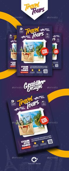 Travel Tours Flyer Template PSD, InDesign INDD
