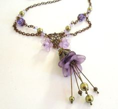 lucite flowers for jewelry making | Lucite flower necklace purple ...