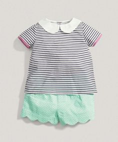 Girls Limited Edition 2 Piece Scalloped Short Set with stripey t-shirt with peter pan collar