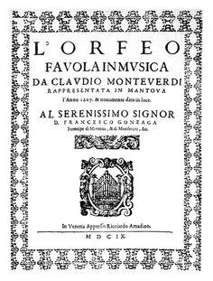 L'Orfeo (opera of Claudio Monteverdi), 1609 Venezia Ricciardo Amadino
