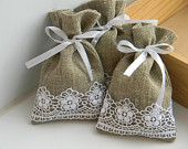 Natural rustic linen and lace wedding favor bags Burlap Projects, Burlap Crafts, Sewing Projects, Lavender Bags, Lavender Sachets, Burlap Favor Bags, Lace Bag, Burlap Lace, Lace Ribbon