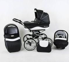 Retro kinderwagen combi ROMANTIC ECO - zwart/wit met zilveren stippen