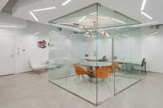 Central office in glass cubicle