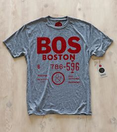 Boston | BOS - Baked bean resistant! Printed on our soft poly-blend slim-fit crew neck, for that well traveled feel. Goes well with your red socks :) $25.60