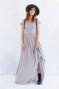 Ecote Gray Ribbed Cap Sleeve Maxi Dress Size XS