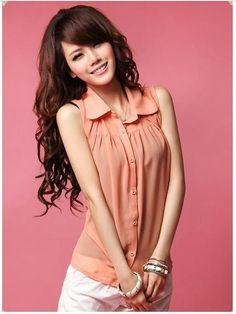 Orange/Pink Sleeveless Elegant Korean Fashion Summer Ladies Shirt