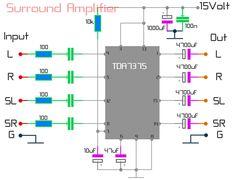 Surround Amplifier using TDA7375