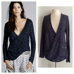 """Free People Gotham Wrap Free people Gotham wrap. Drop neck wrap. This is a pretty thick top. Size L. 56% cotton/ 36% linen/ 8% nylon. Measures 28"""" long.No trades. Poshmark onlyI am very open to fair offers! Free People Sweaters"""