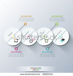 Modern infographics process template with 4 paper circles, icons on grey background. Vector. Can be used for web design and  workflow layout