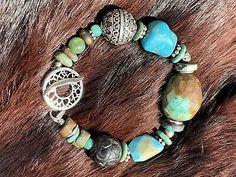 Wooden Beads, Silver Beads, Turquoise Bracelet, Gemstones, Metal, Bracelets, Summer Dresses, Vintage, Jewelry