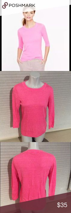 EUC J.Crew Tippi Sweater Neon Pink Linen Top 83560 Gently pre-owned. No signs of wear or tear, no rips or discolorations *Measured Flat* Across shoulders: 15in Sleeve length: 19in Top to bottom hem: 24in J. Crew Sweaters Crew & Scoop Necks