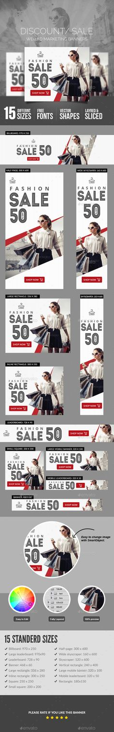 Sales Banners Template PSD - Tap the link to shop on our official online store! You can also join our affiliate and/or rewards programs for FREE! Template Web, Banner Template, Ad Design, Layout Design, Handout, Web Banner Design, Web Banners, Design Digital, Fashion Banner