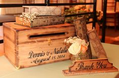 Wedding Card Box Custom bride groom names and date Thank You sign Personalized Country Barn Wood wooden by dlightfuldesigns