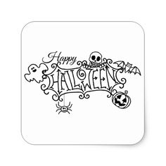 Happy Halloween Cartoon Sign Square Sticker #halloween #holiday #creepyhollow #stickers