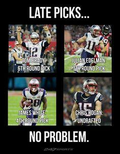 We LOVE our late picks! New England Patriots! Patriots Game, New England Patriots Football, Nfl Football Teams, Best Football Team, Football Memes, Funny Sports Memes, Nfl Memes, Sports Humor, Tom Brady