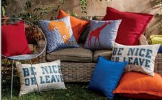 """Outdoor living in Mzanzi. Get ready for summer in South Africa with great outdoor furniture. Don't you just love the """"Be nice or leave"""" scatter cushion?"""