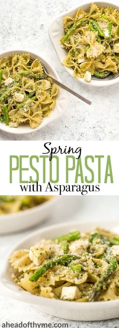 Spring pesto pasta with asparagus and chives is comfort food with a much lighter feel! Serve this hot as a dinner entree or cold as a pasta salad. | aheadofthyme.com #pasta #asparagus #vegetarian #dinner #comfortfood #salad via @aheadofthyme